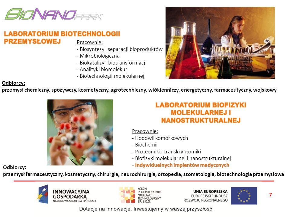 7 Odbiorcy: przemysł chemiczny, spożywczy, kosmetyczny, agrotechniczny, włókienniczy, energetyczny, farmaceutyczny, wojskowy Pracownie: - Biosyntezy i separacji bioproduktów - Mikrobiologiczna - Biokatalizy i biotransformacji - Analityki biomolekuł - Biotechnologii molekularnej Pracownie: - Hodowli komórkowych - Biochemii - Proteomiki i transkryptomiki - Biofizyki molekularnej i nanostrukturalnej - Indywidualnych implantów medycznych Odbiorcy: przemysł farmaceutyczny, kosmetyczny, chirurgia, neurochirurgia, ortopedia, stomatologia, biotechnologia przemysłowa