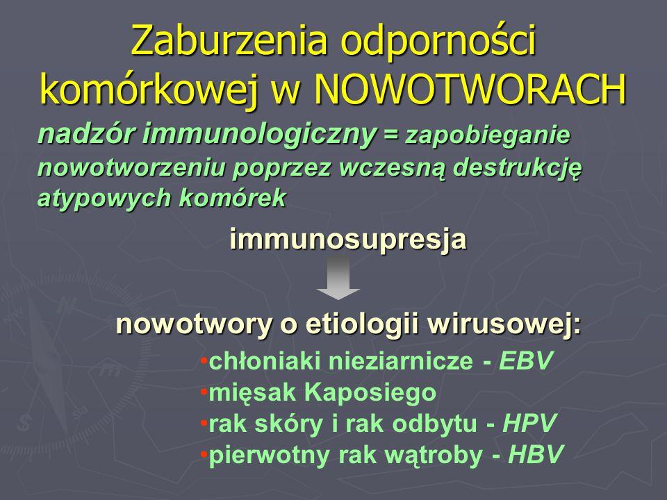 Zaburzenia odporności komórkowej w NOWOTWORACH nadzór immunologiczny = zapobieganie nowotworzeniu poprzez wczesną destrukcję atypowych komórek immunos