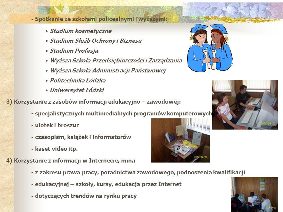 - Spotkanie ze szkołami policealnymi i wyższymi: Studium kosmetyczne Studium Służb Ochrony i Biznesu Studium Profesja Wyższa Szkoła Przedsiębiorczości