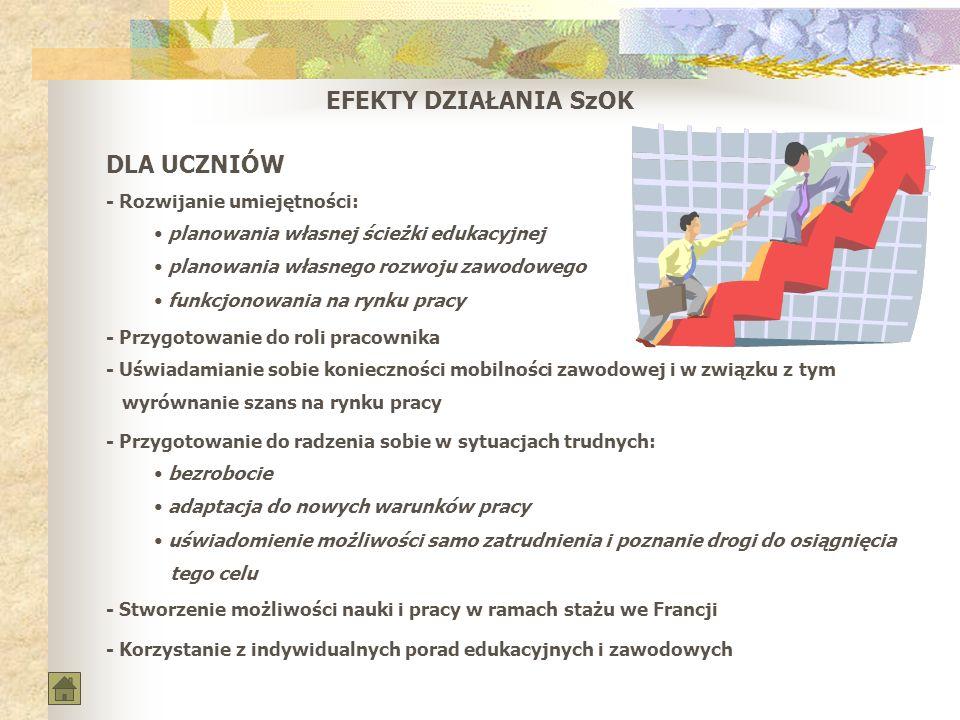 EFEKTY DZIAŁANIA SzOK DLA UCZNIÓW - Rozwijanie umiejętności: planowania własnej ścieżki edukacyjnej planowania własnego rozwoju zawodowego funkcjonowa