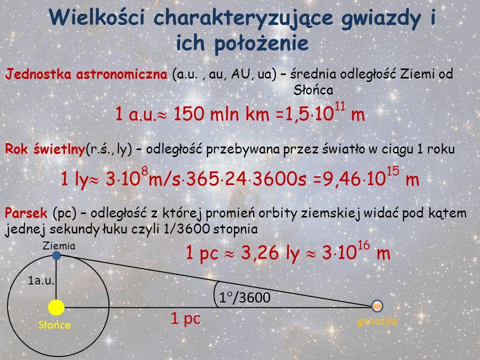 Wielkości charakteryzujące gwiazdy i ich położenie Jednostka astronomiczna (a.u., au, AU, ua) – średnia odległość Ziemi od Słońca 1 a.u. 150 mln km =1