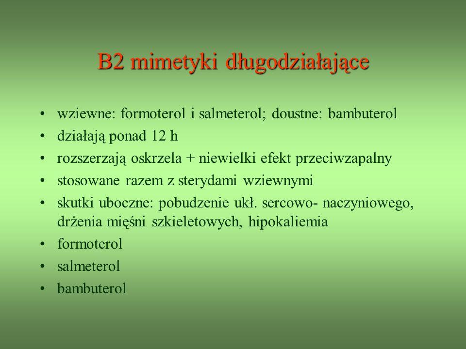 Β2 mimetyki długodziałające wziewne: formoterol i salmeterol; doustne: bambuterol działają ponad 12 h rozszerzają oskrzela + niewielki efekt przeciwzapalny stosowane razem z sterydami wziewnymi skutki uboczne: pobudzenie ukł.
