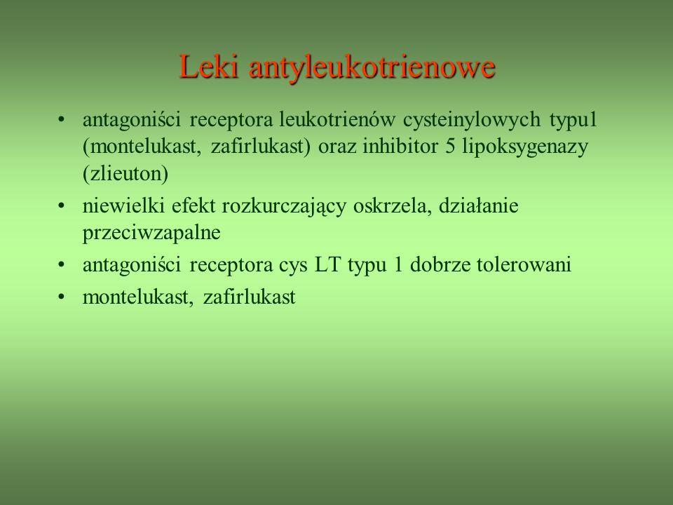 Leki antyleukotrienowe antagoniści receptora leukotrienów cysteinylowych typu1 (montelukast, zafirlukast) oraz inhibitor 5 lipoksygenazy (zlieuton) niewielki efekt rozkurczający oskrzela, działanie przeciwzapalne antagoniści receptora cys LT typu 1 dobrze tolerowani montelukast, zafirlukast