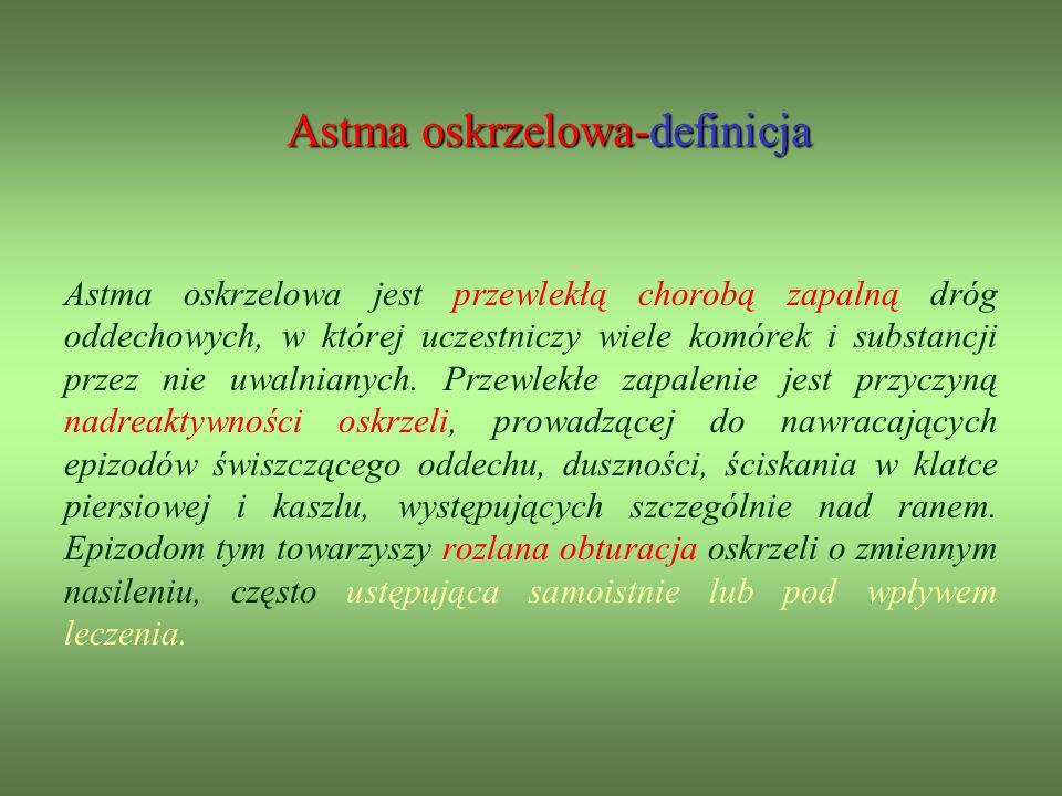 Astma oskrzelowa-definicja Astma oskrzelowa jest przewlekłą chorobą zapalną dróg oddechowych, w której uczestniczy wiele komórek i substancji przez nie uwalnianych.