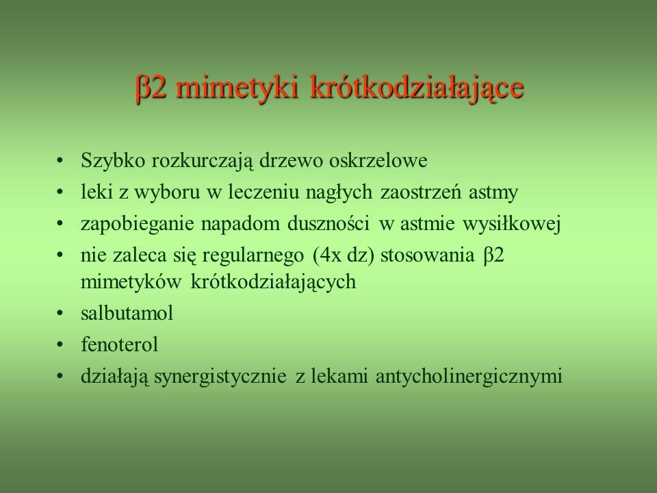 β2 mimetyki krótkodziałające Szybko rozkurczają drzewo oskrzelowe leki z wyboru w leczeniu nagłych zaostrzeń astmy zapobieganie napadom duszności w astmie wysiłkowej nie zaleca się regularnego (4x dz) stosowania β2 mimetyków krótkodziałających salbutamol fenoterol działają synergistycznie z lekami antycholinergicznymi