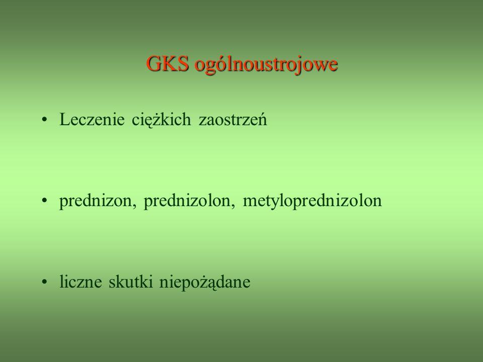 GKS ogólnoustrojowe Leczenie ciężkich zaostrzeń prednizon, prednizolon, metyloprednizolon liczne skutki niepożądane