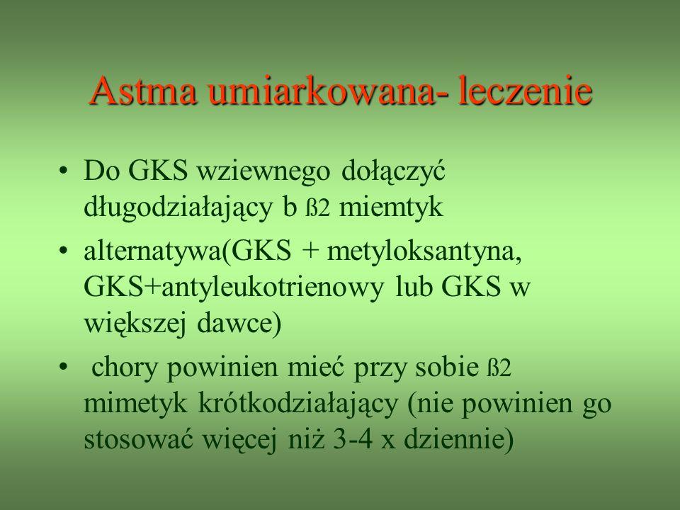 Astma umiarkowana- leczenie Do GKS wziewnego dołączyć długodziałający b ß2 miemtyk alternatywa(GKS + metyloksantyna, GKS+antyleukotrienowy lub GKS w większej dawce) chory powinien mieć przy sobie ß2 mimetyk krótkodziałający (nie powinien go stosować więcej niż 3-4 x dziennie)