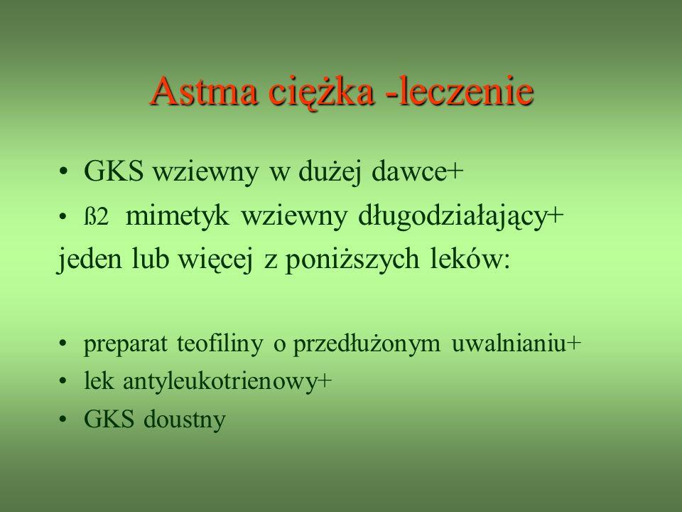 Astma ciężka -leczenie GKS wziewny w dużej dawce+ ß2 mimetyk wziewny długodziałający+ jeden lub więcej z poniższych leków: preparat teofiliny o przedłużonym uwalnianiu+ lek antyleukotrienowy+ GKS doustny