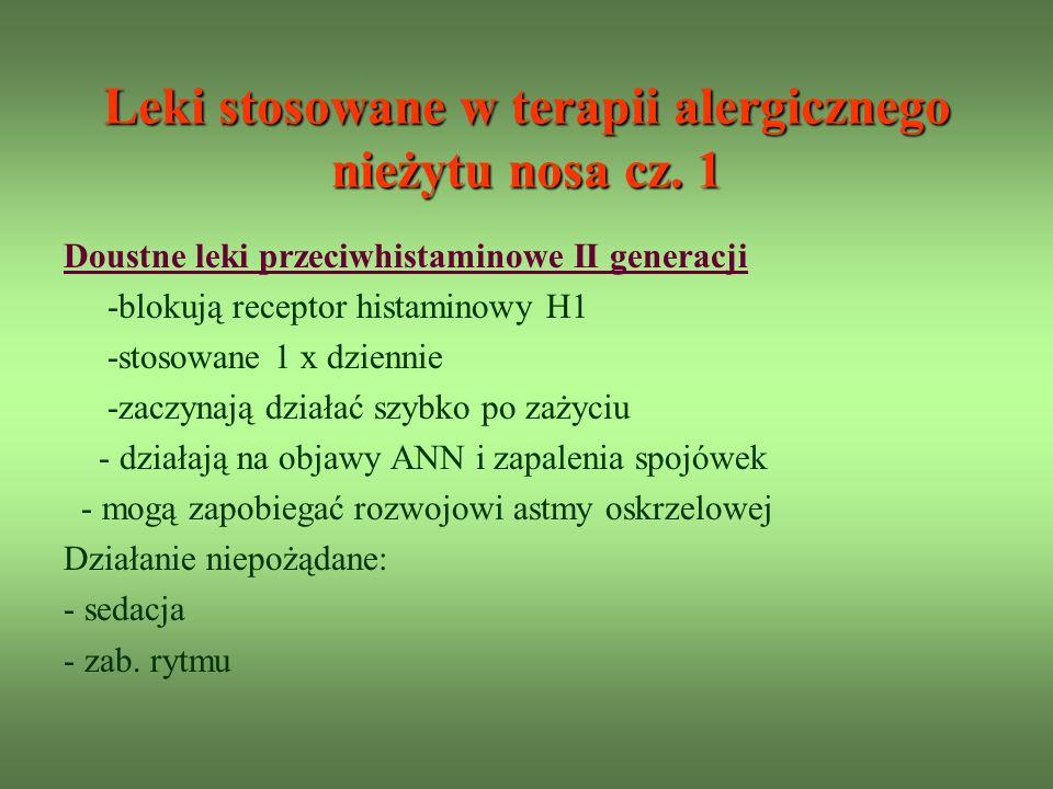 Leki stosowane w terapii alergicznego nieżytu nosa cz.
