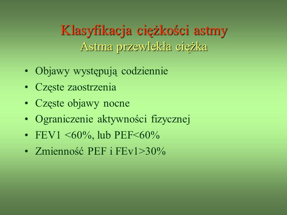 Objawy występują codziennie Częste zaostrzenia Częste objawy nocne Ograniczenie aktywności fizycznej FEV1 <60%, lub PEF<60% Zmienność PEF i FEv1>30% Klasyfikacja ciężkości astmy Astma przewlekła ciężka
