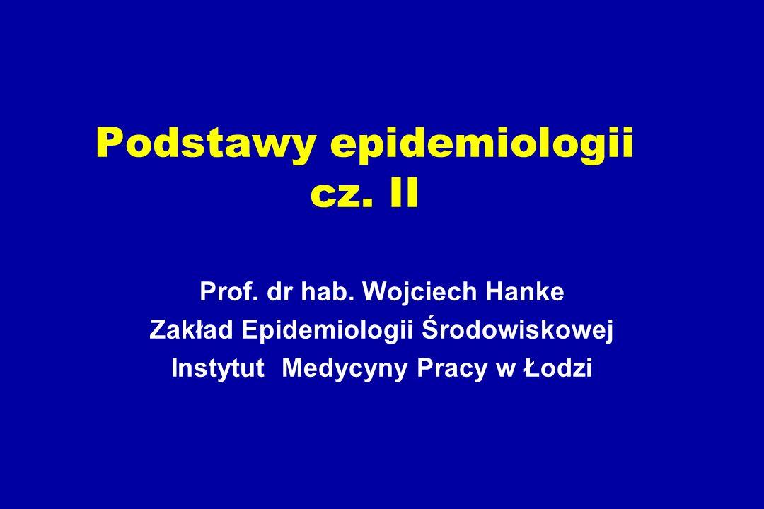 Zakres tematyczny Analiza danych epidemiologicznych Błąd losowy, systematyczny, czynniki zakłócające Badania kliniczne Badania przesiewowe