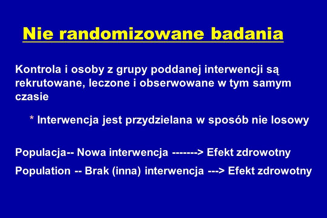 Nie randomizowane badania Kontrola i osoby z grupy poddanej interwencji są rekrutowane, leczone i obserwowane w tym samym czasie * Interwencja jest przydzielana w sposób nie losowy Populacja-- Nowa interwencja -------> Efekt zdrowotny Population -- Brak (inna) interwencja ---> Efekt zdrowotny