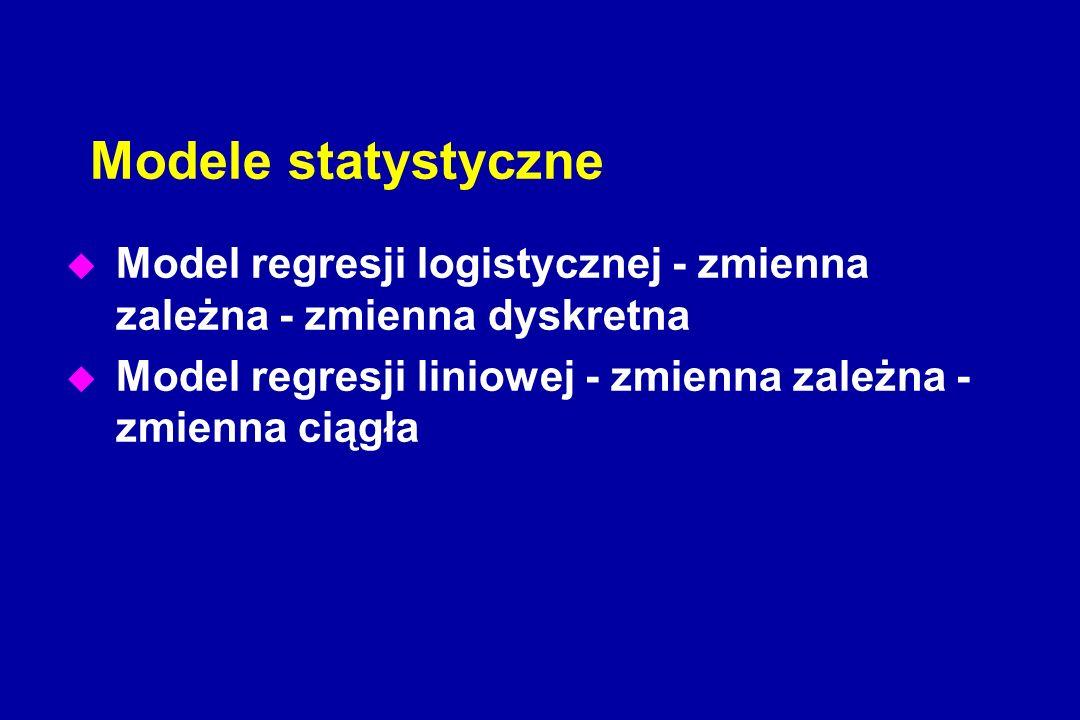 Modele statystyczne u Model regresji logistycznej - zmienna zależna - zmienna dyskretna u Model regresji liniowej - zmienna zależna - zmienna ciągła