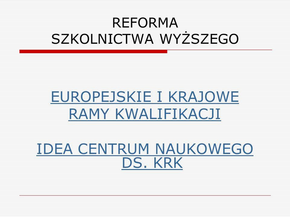 REFORMA SZKOLNICTWA WYŻSZEGO EUROPEJSKIE I KRAJOWE RAMY KWALIFIKACJI IDEA CENTRUM NAUKOWEGO DS. KRK