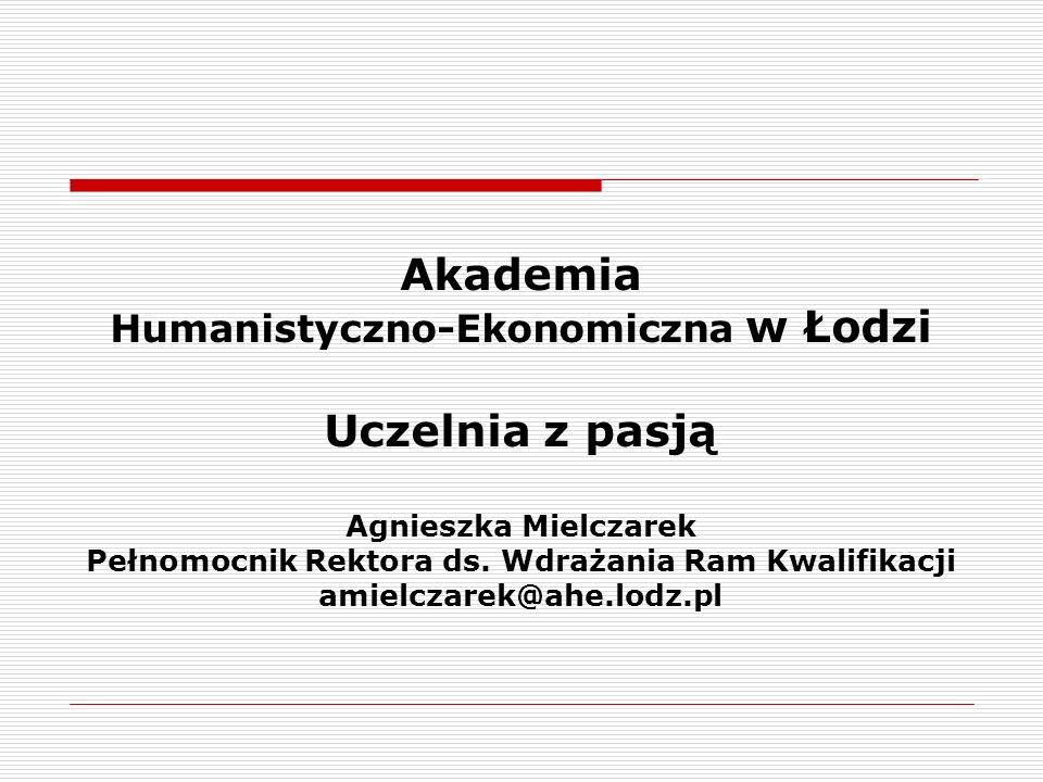 Akademia Humanistyczno-Ekonomiczna w Łodzi Uczelnia z pasją Agnieszka Mielczarek Pełnomocnik Rektora ds.