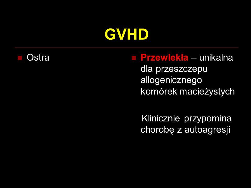 GVHD Ostra Przewlekła – unikalna dla przeszczepu allogenicznego komórek macieżystych Klinicznie przypomina chorobę z autoagresji