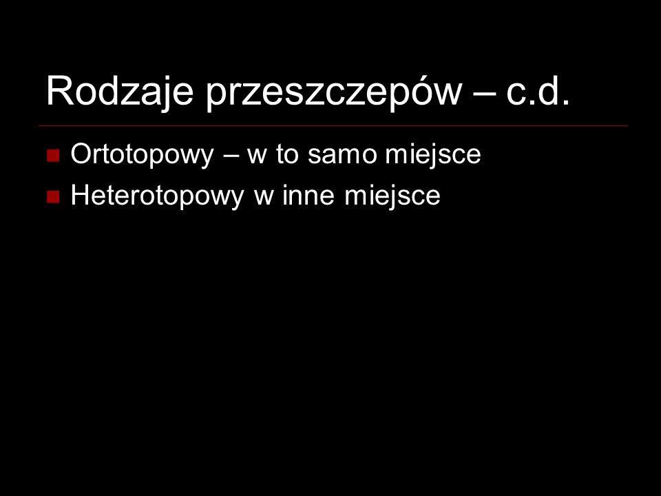 Rodzaje przeszczepów – c.d. Ortotopowy – w to samo miejsce Heterotopowy w inne miejsce