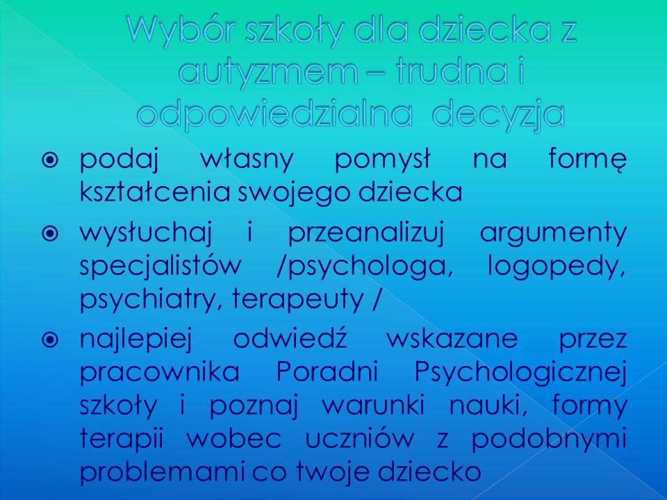 podaj własny pomysł na formę kształcenia swojego dziecka wysłuchaj i przeanalizuj argumenty specjalistów /psychologa, logopedy, psychiatry, terapeuty
