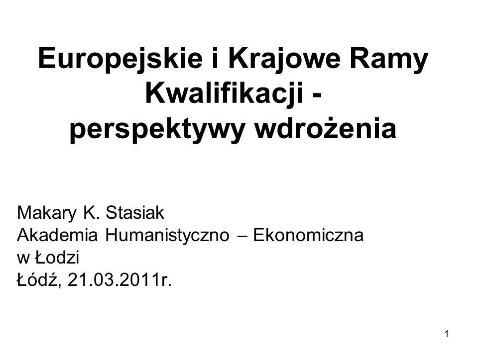 1 Europejskie i Krajowe Ramy Kwalifikacji - perspektywy wdrożenia Makary K.