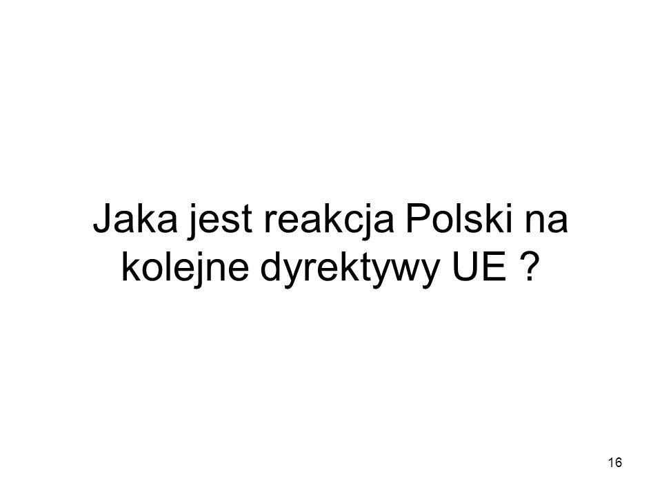 16 Jaka jest reakcja Polski na kolejne dyrektywy UE