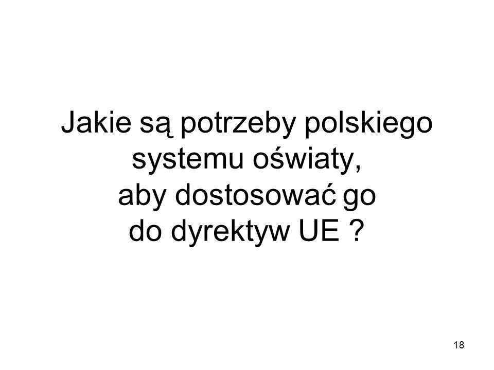 18 Jakie są potrzeby polskiego systemu oświaty, aby dostosować go do dyrektyw UE