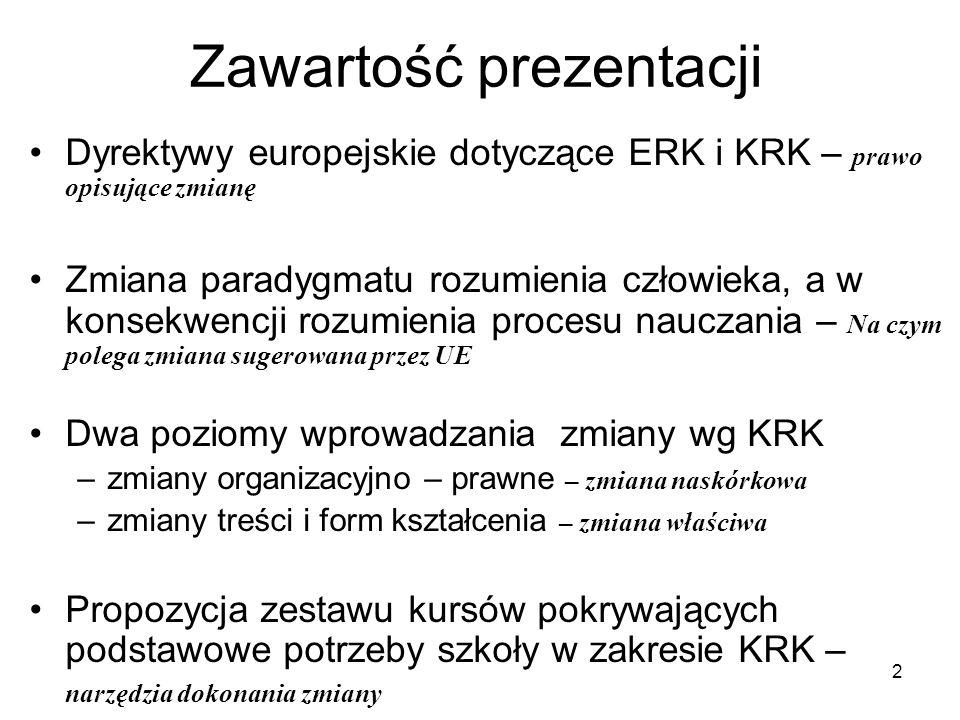 2 Zawartość prezentacji Dyrektywy europejskie dotyczące ERK i KRK – prawo opisujące zmianę Zmiana paradygmatu rozumienia człowieka, a w konsekwencji rozumienia procesu nauczania – Na czym polega zmiana sugerowana przez UE Dwa poziomy wprowadzania zmiany wg KRK –zmiany organizacyjno – prawne – zmiana naskórkowa –zmiany treści i form kształcenia – zmiana właściwa Propozycja zestawu kursów pokrywających podstawowe potrzeby szkoły w zakresie KRK – narzędzia dokonania zmiany