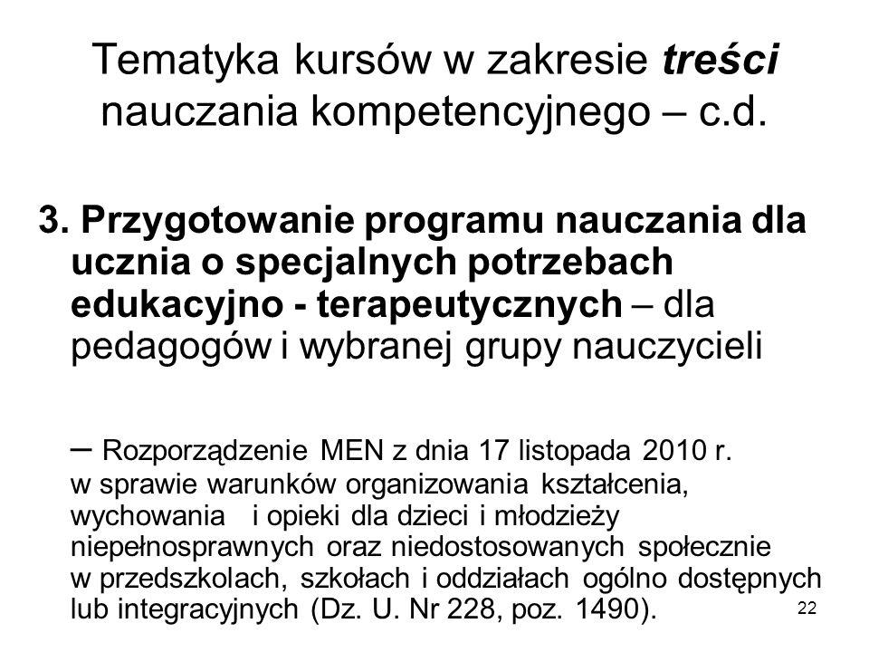 22 Tematyka kursów w zakresie treści nauczania kompetencyjnego – c.d.