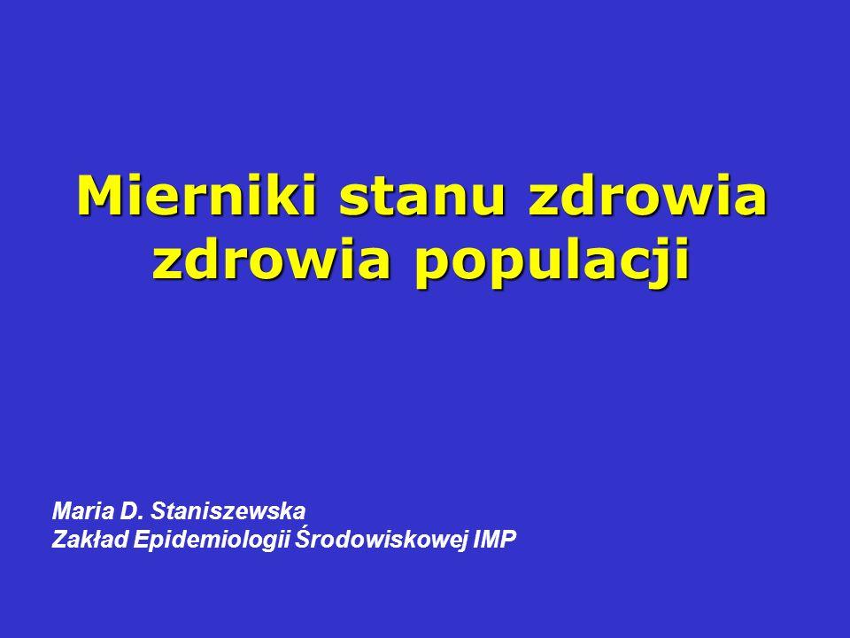 Mierniki stanu zdrowia zdrowia populacji Maria D. Staniszewska Zakład Epidemiologii Środowiskowej IMP