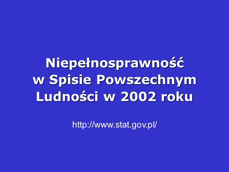 Niepełnosprawność w Spisie Powszechnym Ludności w 2002 roku http://www.stat.gov.pl/