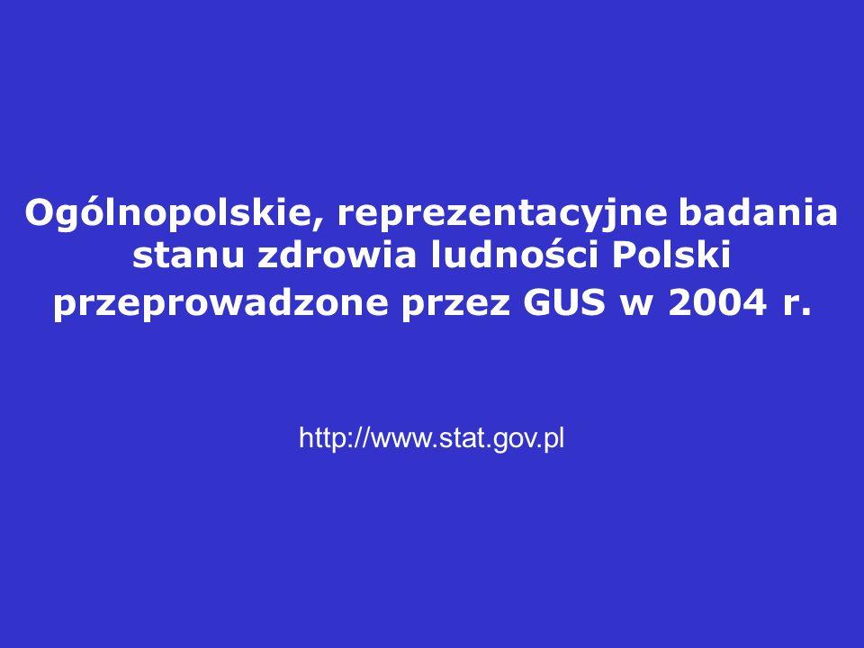 Ogólnopolskie, reprezentacyjne badania stanu zdrowia ludności Polski przeprowadzone przez GUS w 2004 r. http://www.stat.gov.pl