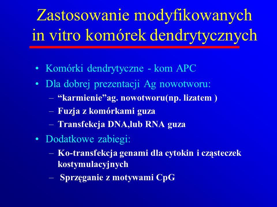 Zastosowanie modyfikowanych in vitro komórek dendrytycznych Komórki dendrytyczne - kom APC Dla dobrej prezentacji Ag nowotworu: –karmienieag. nowotwor