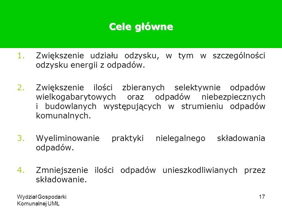 Wydział Gospodarki Komunalnej UMŁ 17 Cele główne 1.Zwiększenie udziału odzysku, w tym w szczególności odzysku energii z odpadów. 2.Zwiększenie ilości