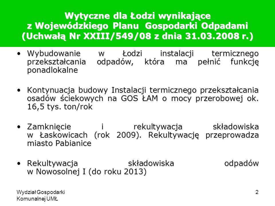 Wydział Gospodarki Komunalnej UMŁ 2 Wytyczne dla Łodzi wynikające z Wojewódzkiego Planu Gospodarki Odpadami (Uchwałą Nr XXIII/549/08 z dnia 31.03.2008