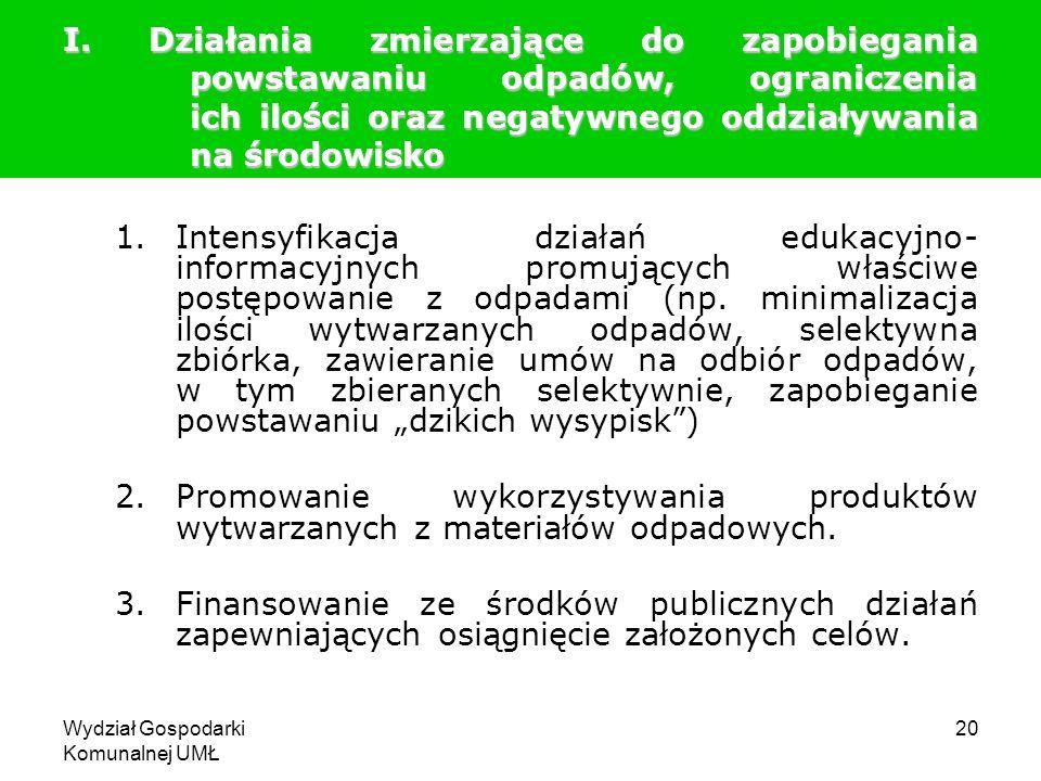 Wydział Gospodarki Komunalnej UMŁ 20 I. Działania zmierzające do zapobiegania powstawaniu odpadów, ograniczenia ich ilości oraz negatywnego oddziaływa