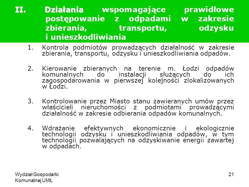 Wydział Gospodarki Komunalnej UMŁ 21 1.Kontrola podmiotów prowadzących działalność w zakresie zbierania, transportu, odzysku i unieszkodliwiania odpad