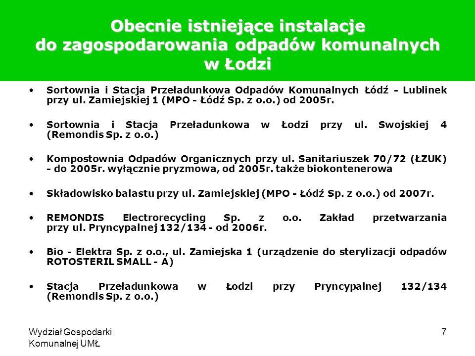 Wydział Gospodarki Komunalnej UMŁ 8 Bilans odpadów komunalnych z miasta Łodzi poddawanych procesom odzysku i unieszkodliwiania Wyszczególnienie20042008 Masa odpadów poddanych odzyskowi w sortowniach (w tonach) 11 500,00128 782,79 Masa odpadów poddanych recyklingowi w kompostowni (w tonach) 5 900,9716 489,54 Masa odpadów unieszkodliwionych przez składowanie (w tonach) 273 173,40227 520,78