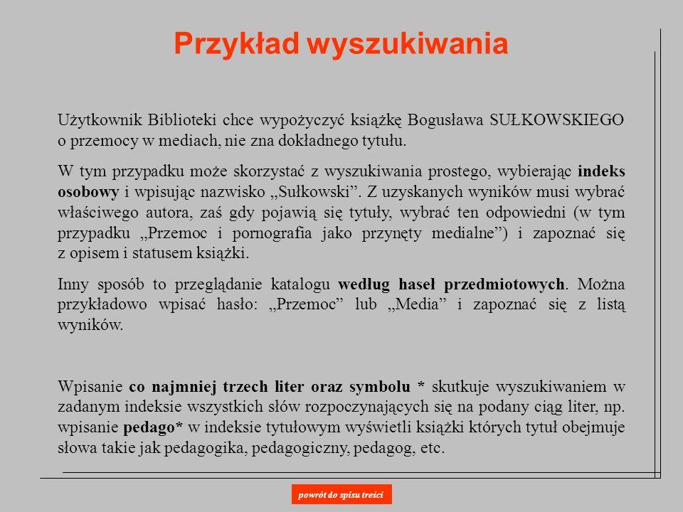 Przykład wyszukiwania Użytkownik Biblioteki chce wypożyczyć książkę Bogusława SUŁKOWSKIEGO o przemocy w mediach, nie zna dokładnego tytułu. W tym przy