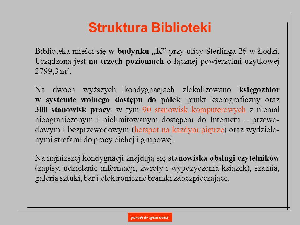 Struktura Biblioteki Biblioteka mieści się w budynku K przy ulicy Sterlinga 26 w Łodzi. Urządzona jest na trzech poziomach o łącznej powierzchni użytk