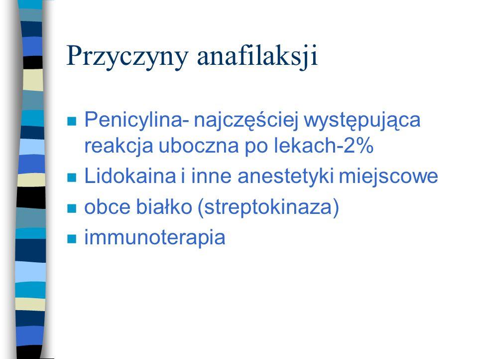 Zapobieganie anafilaksji: n Reakcje alergiczne należy dokładnie odnotować w dokumentacji medycznej n przed przyjęciem leku dokładny wywiad uczuleniowy n leki o znacznej alergenności powinny być podawane doustnie raczej niż parenetaralnie n odczulanie n bransoletka informująca o uczuleniu