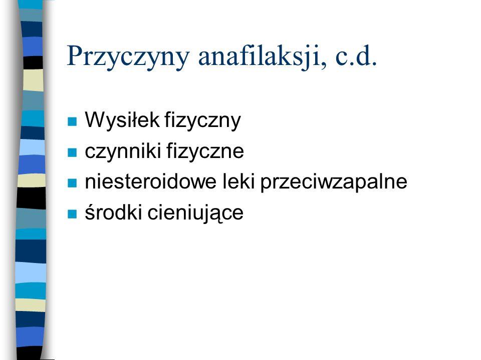 Wstrząs anafilaktyczny -leczenie Ważna jest szybka interwencja n konieczne jest przerwanie narażenia na działanie antygenu n monitorowanie podstawowych parametrów życiowych n jeśli antygen został spożyty wskazane jest natychmiastowe płukanie żołądka