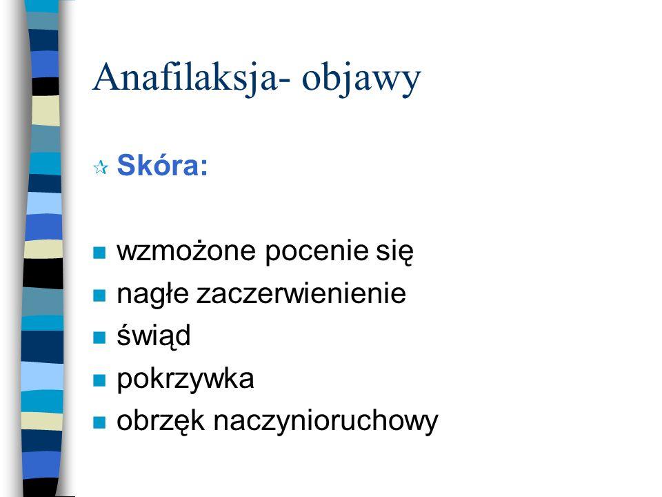 Mediatory reakcji anafilaktycznej 1 n Histamina - obkurcza m.gładkie, obrzęk bł.
