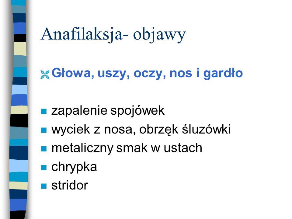 Anafilaksja- objawy Ì Układ oddechowy: n przyspieszony oddech n duszność n kaszel n sapanie
