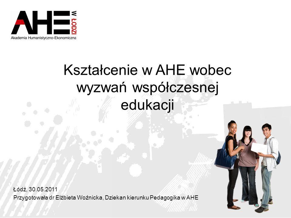 Łódź, 30.05.2011 Przygotowała dr Elżbieta Woźnicka, Dziekan kierunku Pedagogika w AHE Kształcenie w AHE wobec wyzwań współczesnej edukacji