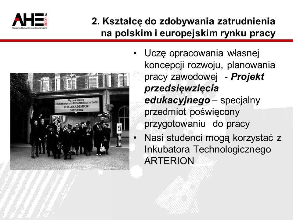 2. Kształcę do zdobywania zatrudnienia na polskim i europejskim rynku pracy Uczę opracowania własnej koncepcji rozwoju, planowania pracy zawodowej - P