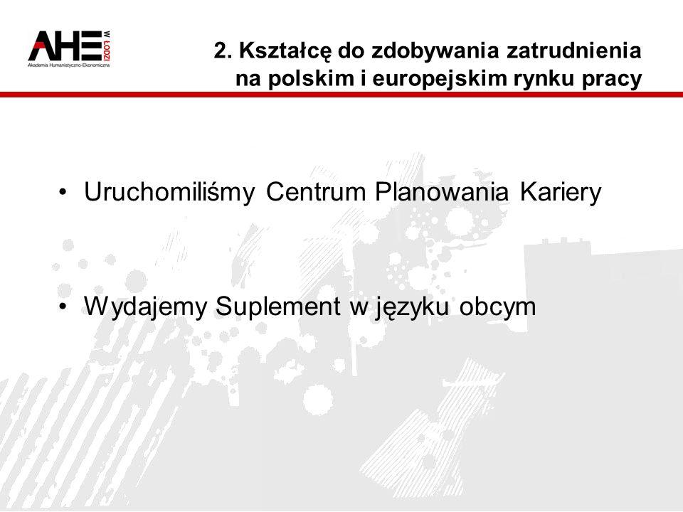 2. Kształcę do zdobywania zatrudnienia na polskim i europejskim rynku pracy Uruchomiliśmy Centrum Planowania Kariery Wydajemy Suplement w języku obcym