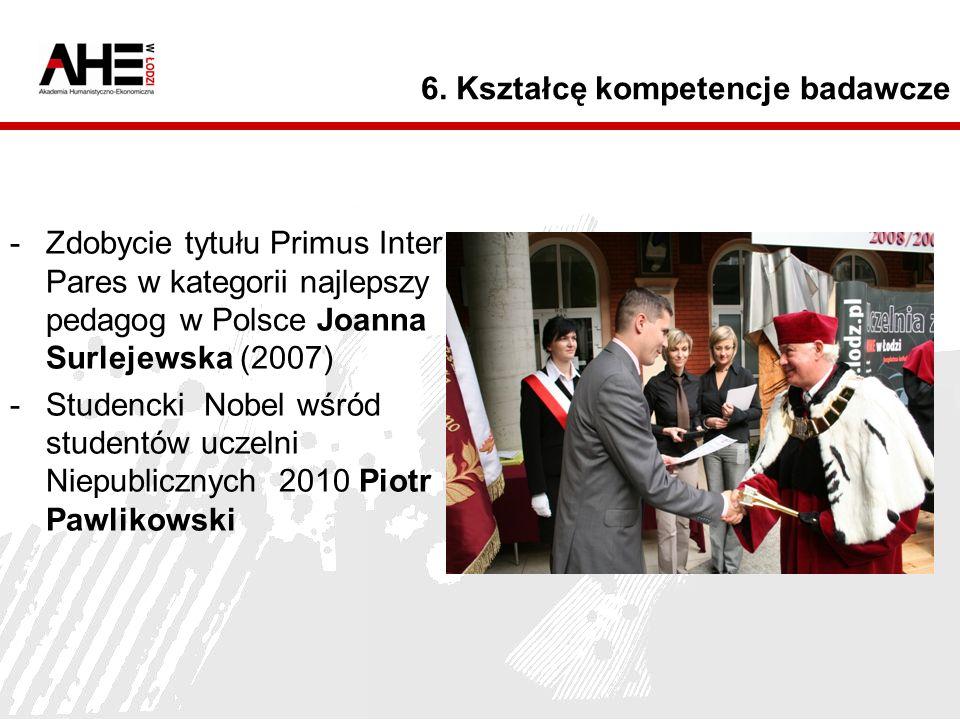 6. Kształcę kompetencje badawcze -Zdobycie tytułu Primus Inter Pares w kategorii najlepszy pedagog w Polsce Joanna Surlejewska (2007) -Studencki Nobel