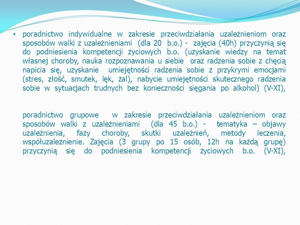 poradnictwo indywidualne w zakresie przeciwdziałania uzależnieniom oraz sposobów walki z uzależnieniami (dla 20 b.o.) - zajęcia (40h) przyczynią się do podniesienia kompetencji życiowych b.o.