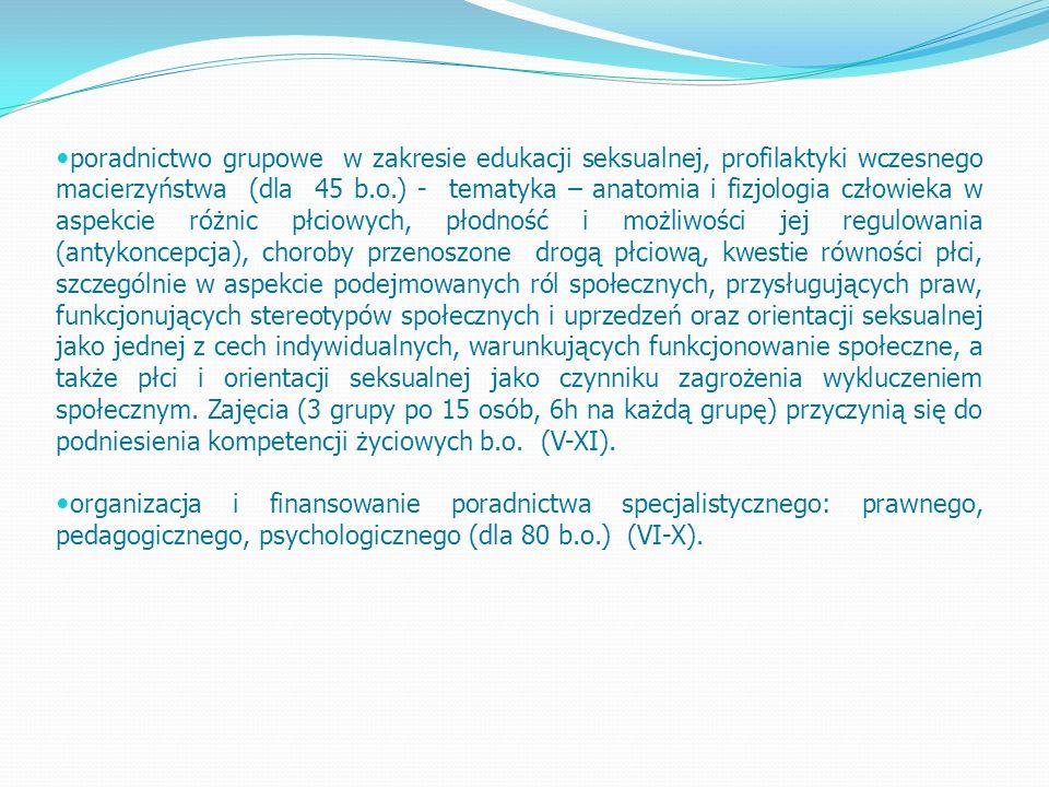 poradnictwo grupowe w zakresie edukacji seksualnej, profilaktyki wczesnego macierzyństwa (dla 45 b.o.) - tematyka – anatomia i fizjologia człowieka w aspekcie różnic płciowych, płodność i możliwości jej regulowania (antykoncepcja), choroby przenoszone drogą płciową, kwestie równości płci, szczególnie w aspekcie podejmowanych ról społecznych, przysługujących praw, funkcjonujących stereotypów społecznych i uprzedzeń oraz orientacji seksualnej jako jednej z cech indywidualnych, warunkujących funkcjonowanie społeczne, a także płci i orientacji seksualnej jako czynniku zagrożenia wykluczeniem społecznym.