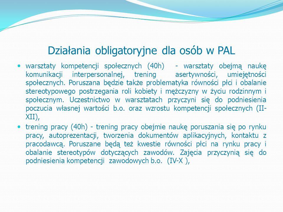 Działania obligatoryjne dla osób w PAL warsztaty kompetencji społecznych (40h) - warsztaty obejmą naukę komunikacji interpersonalnej, trening asertywności, umiejętności społecznych.