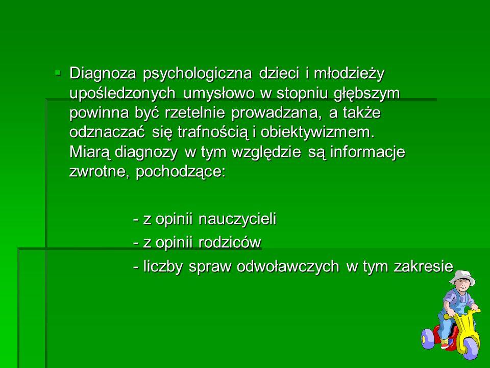 Diagnoza psychologiczna dzieci i młodzieży upośledzonych umysłowo w stopniu głębszym powinna być rzetelnie prowadzana, a także odznaczać się trafności